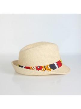 Panama wax / Wax batik orange / Chapeau paille / Accessoire wax