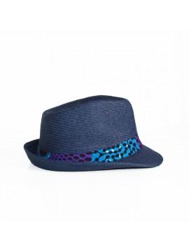 Panama wax / Batik bleu / Chapeau paille / Tissu africain