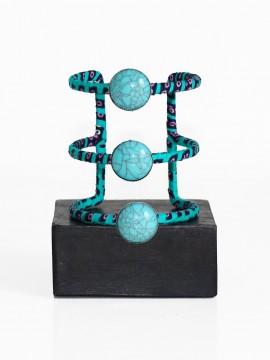 Manchette Ethnique / Wax géo vert / Bracelet à pierres / Tissu africain