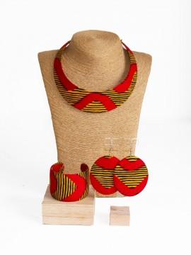 Parure Bantu / Wax chacha rouge / Bijoux wax / Tissu africain
