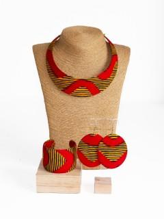 Parure Bantu / Wax chacha rouge / Parure wax / Bijoux wax