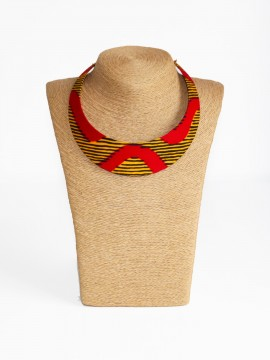 Collier Bantu / Wax chacha rouge / Collier africain / Tissu africain rouge