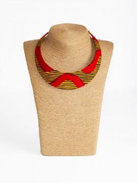 Collier Bantu / Wax chacha rouge / Collier ras de cou / Collier wax
