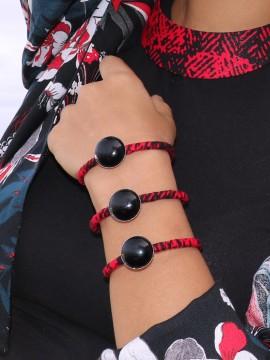 Manchette Ethnique / Wax rouge / Bracelet à pierres / Tissu africain