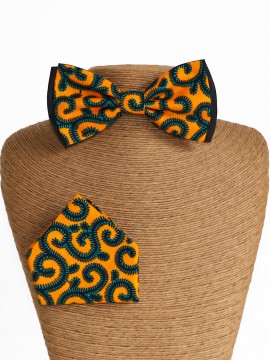 Noeud classic & mouchoir / Wax conseillé jaune / Noeud papillon wax / Tissu africain